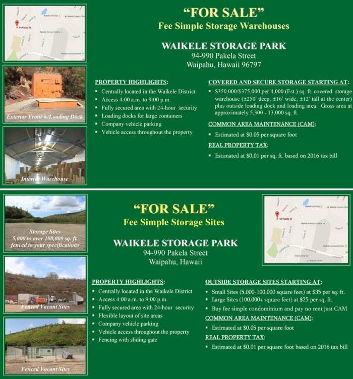 Waikele Storage Park - For Sale